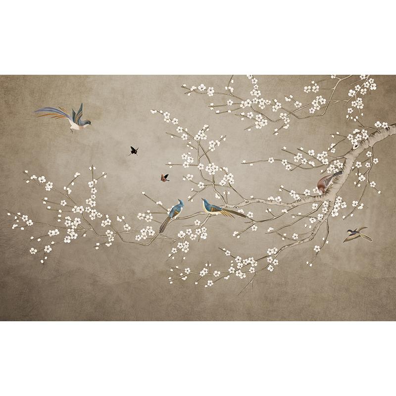 新中式壁纸美式花鸟客厅电视背景墙墙纸玄关影视墙布无缝定制壁画