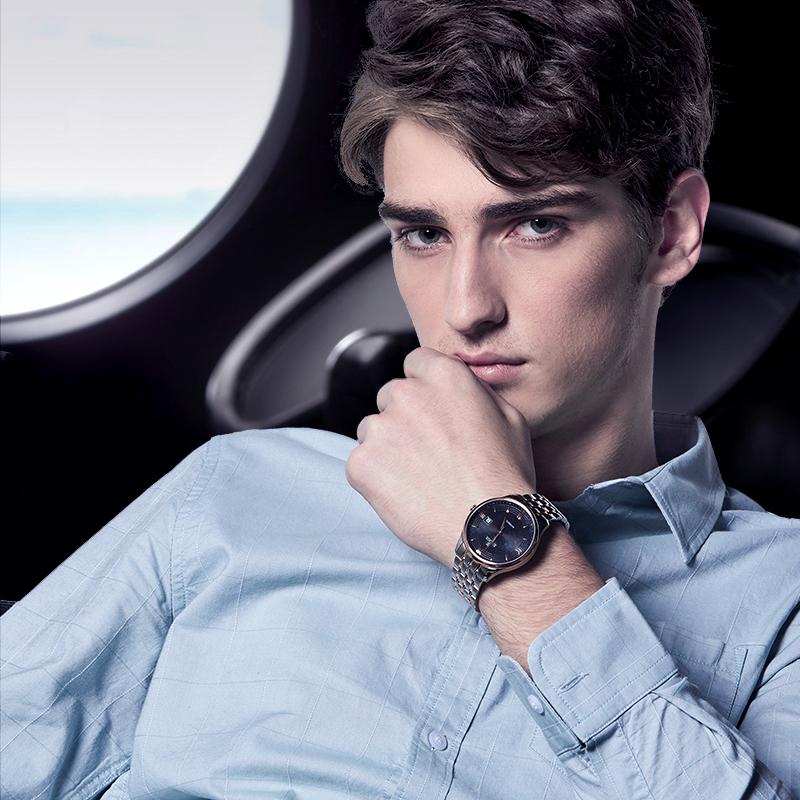 依波手表正品自动机械男表钢带腕表防水潮流男表5087