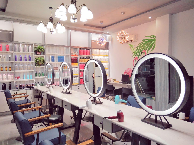复古美发店双面镜台网红理发店发廊专用简约现代一体欧式镜子套装