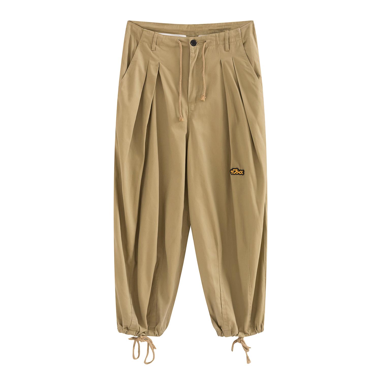 廓形褶皱工装卡其廓形休闲裤 OVERSIZE 日系 19SS WAMONO