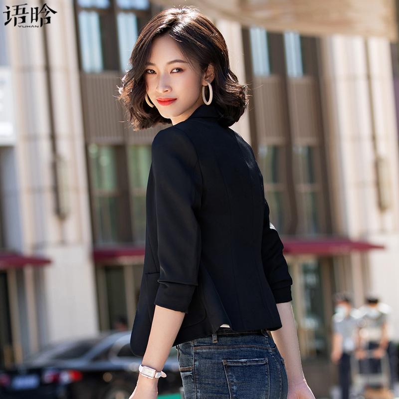 韩版修身气质小个子黑色小西服