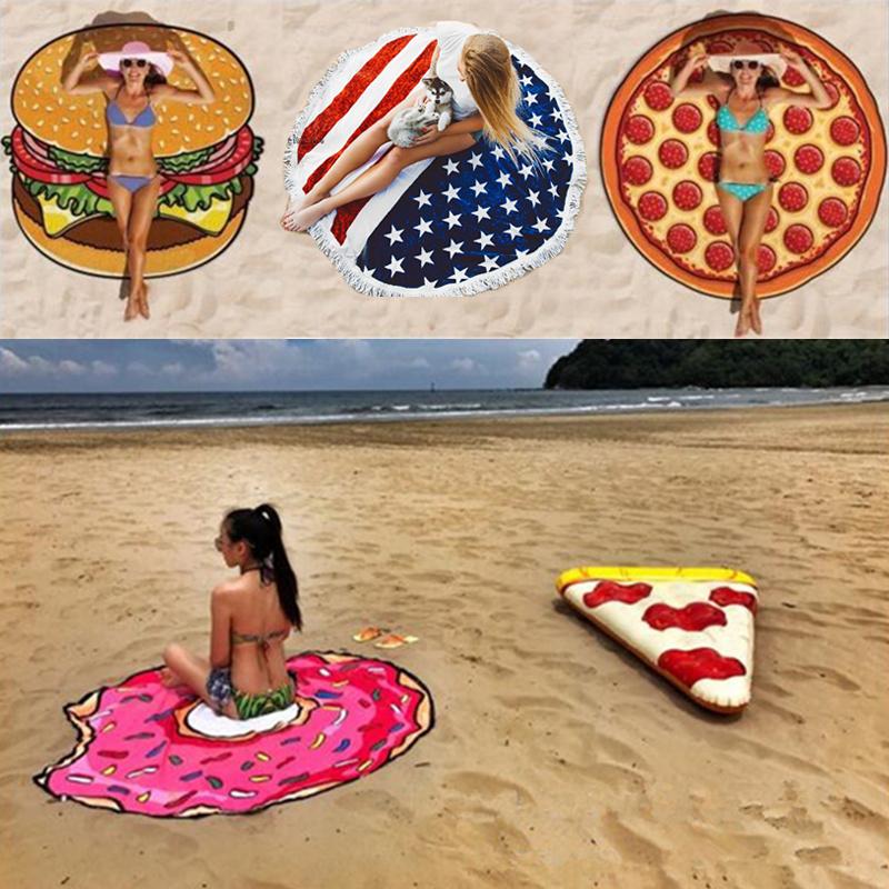 超大圓形沙灘墊巾旅行超輕速乾防曬披巾度假拍照地墊布海邊拍照