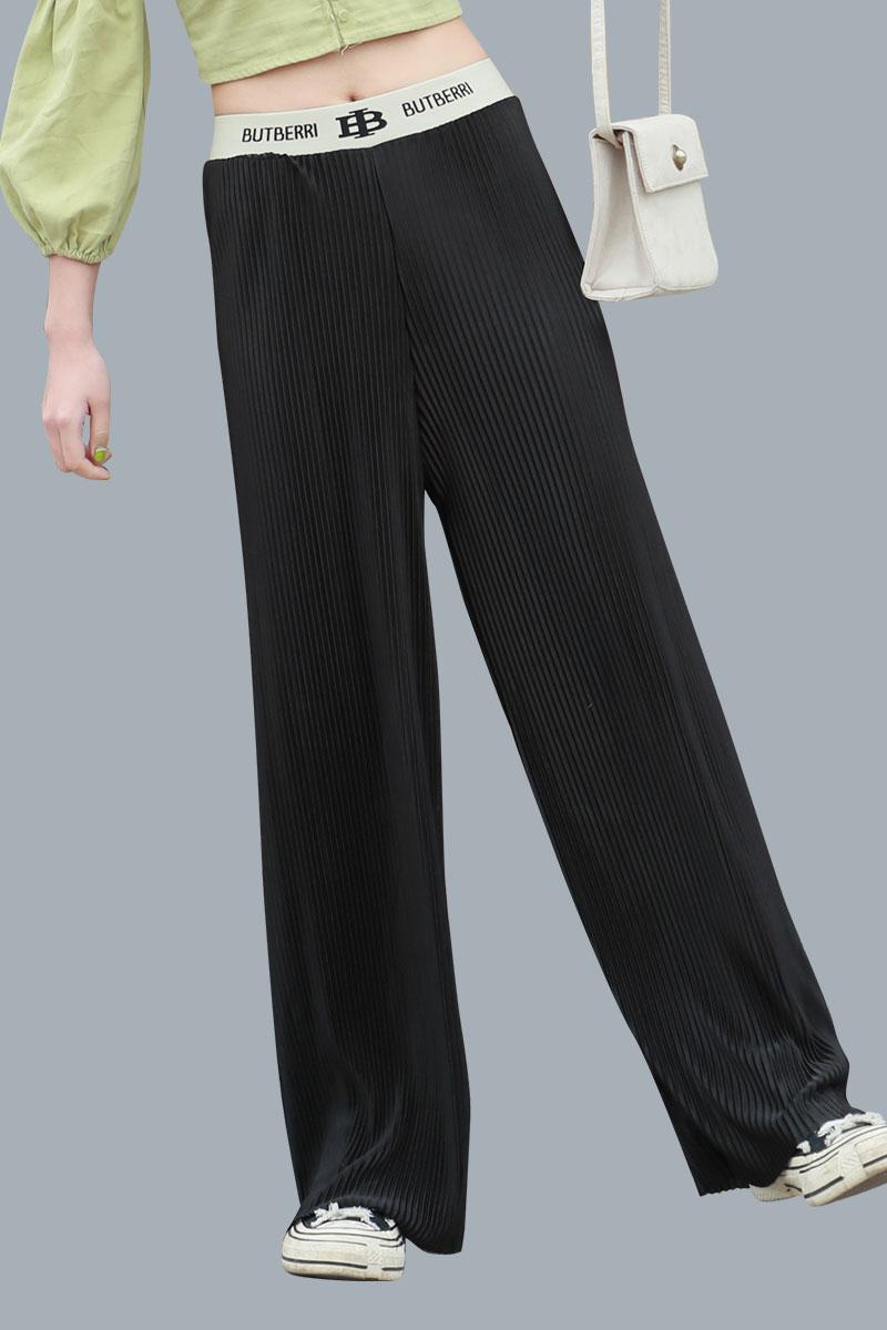 冰丝休闲阔腿裤女夏季薄款垂感高腰九分直筒显瘦裤子小个子大码