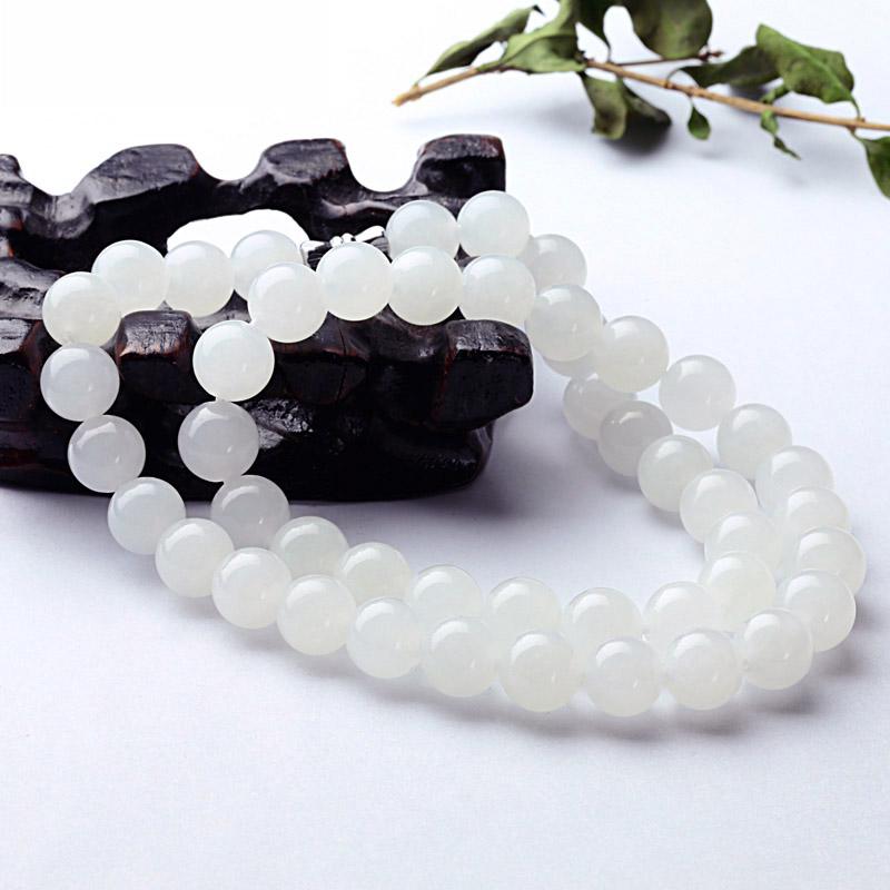 羊脂玉圆珠串保真玉珠玉链子带证书 天然新疆和田玉女款白玉项链