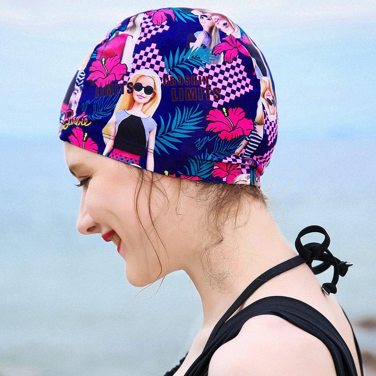 芭比时尚印花长发护耳泳帽女泳衣面料高弹舒适速干透气游泳装备