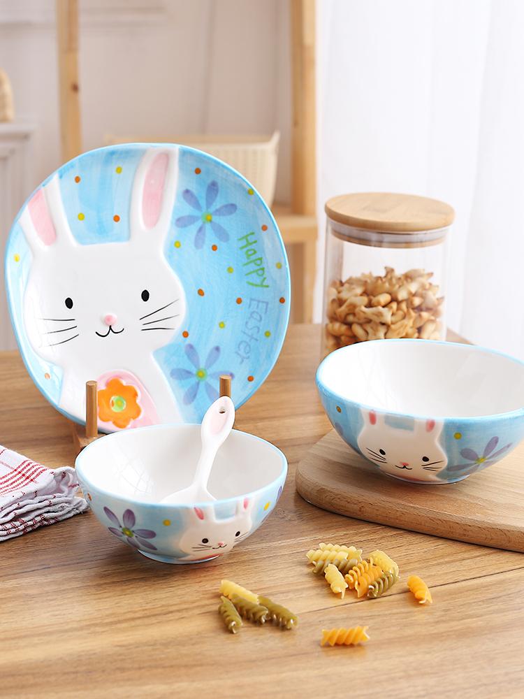 景德鎮手繪動物碗米飯碗甜品碗日式創意陶瓷器餐具套裝斑馬兔子碗