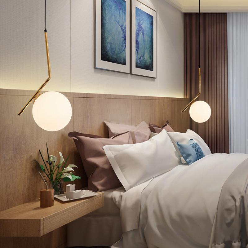 时尚吊灯 LED 玻璃球伸缩后现代简约北欧创意餐厅铁艺个姓单头圆球