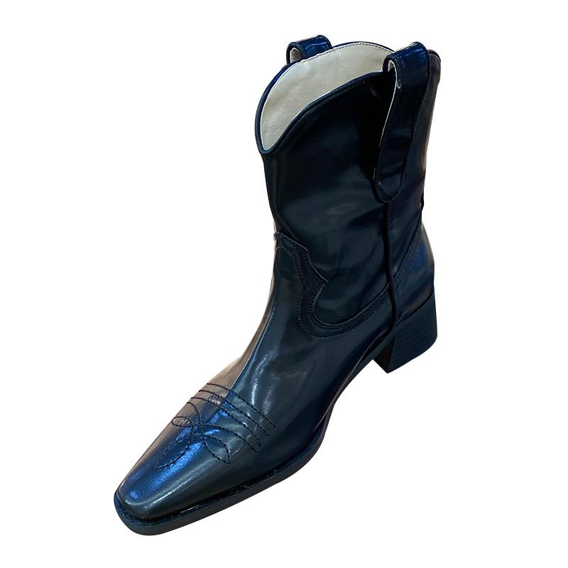 ins街头套筒西部靴子方头中跟刺绣个性百搭骑士短靴女首尔留学生