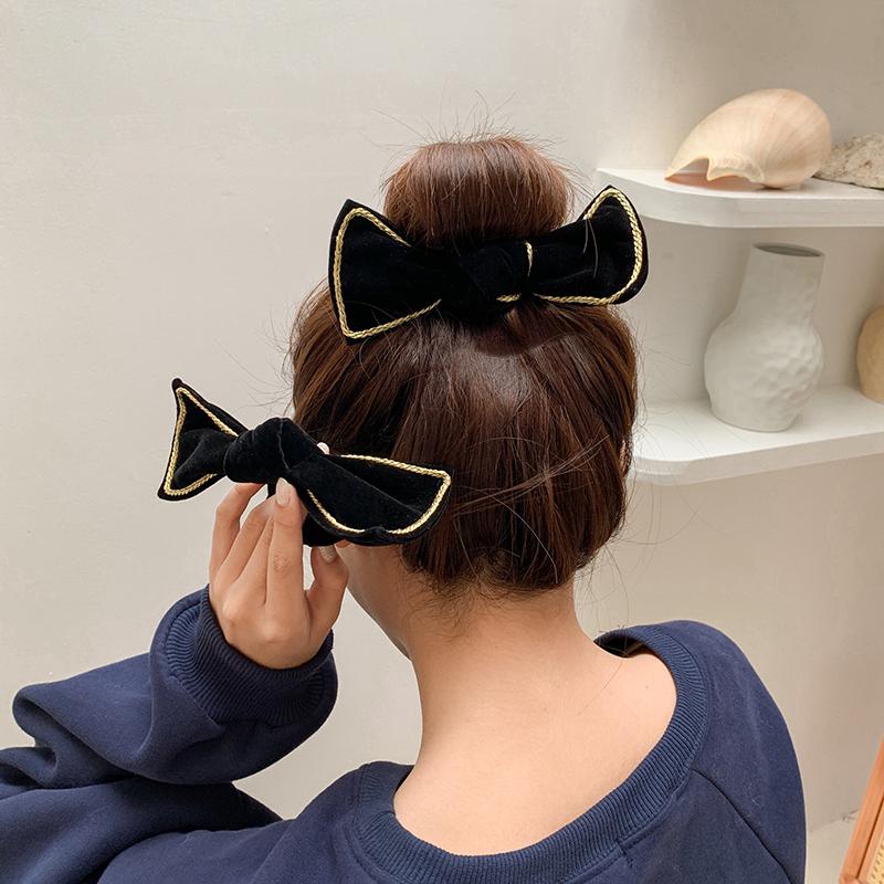 秋冬气质蝴蝶结发箍韩国丝绒发饰压发头箍发卡发圈发绳复古头饰女主图