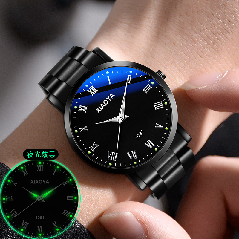 新款品牌男士手表双日历夜光防水男表数字黑科技虫洞概念炫酷 2020