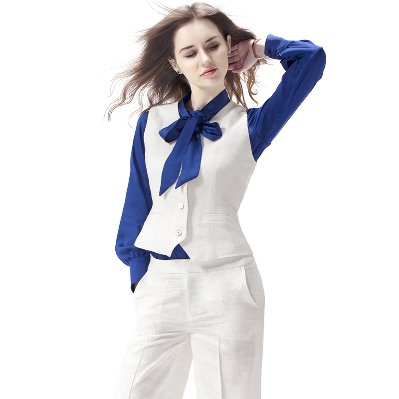 欧美高端气质职业装白色时尚套装女马甲裤子套装修身阔腿裤两件套
