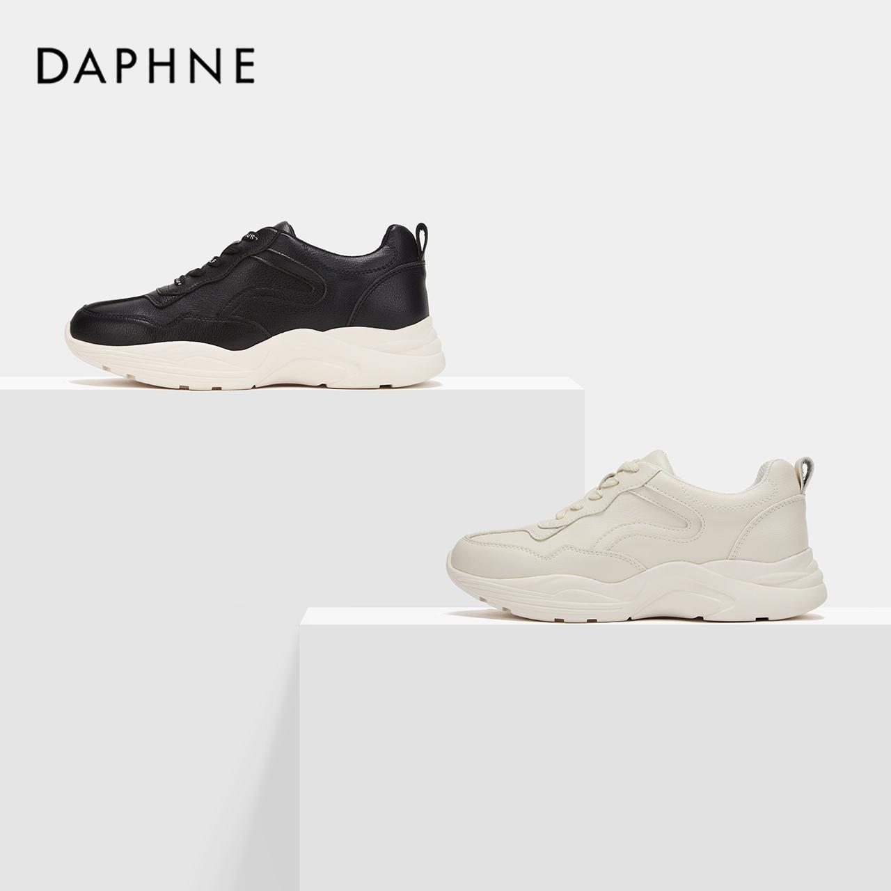 秋头层牛皮都市休闲鞋圆头系带橡胶厚底单鞋 2019 达芙妮 Daphne
