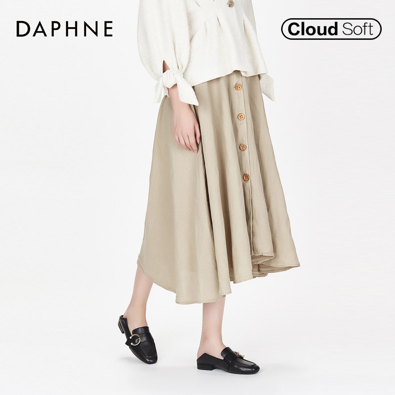 秋新款简约牛皮纯色乐福鞋时尚金属圆扣单鞋女 2018 达芙妮 Daphne