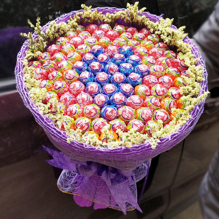99颗真知棒糖果花束创意网红生日情人节礼物送女友黑纱棒棒糖花束