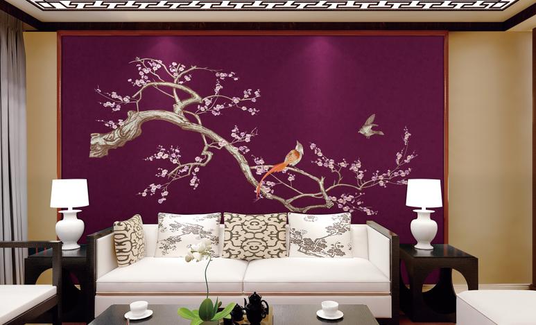 新中式独花刺绣壁布花鸟背景电视沙发客厅红木家具刺猬紫檀整幅