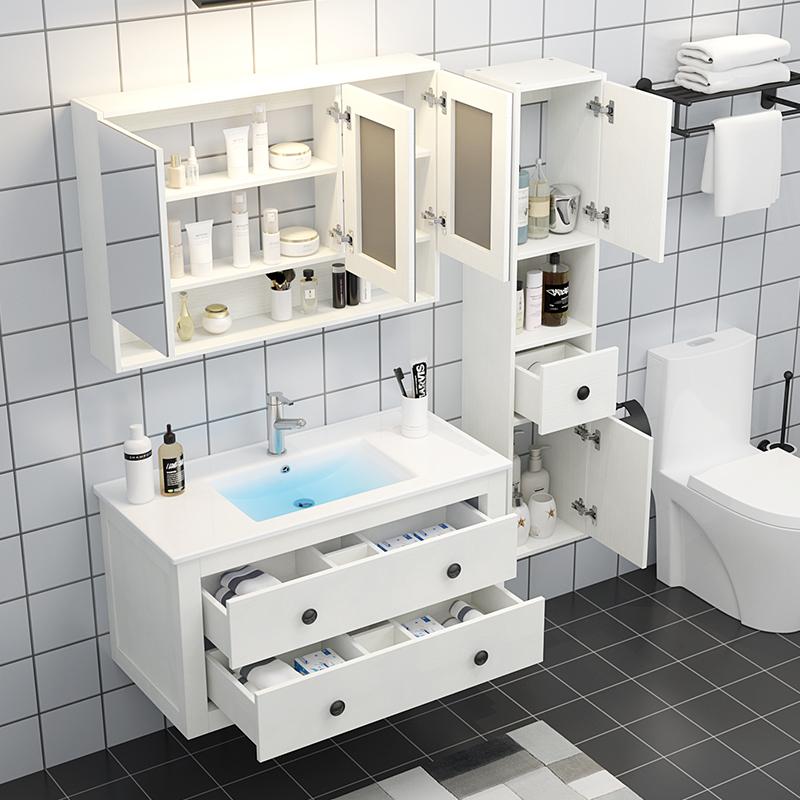 北歐浴室柜洗臉洗手盆柜組合現代簡約免漆衛生間洗漱臺衛浴落地式
