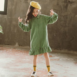 Girls autumn dress 2019 new foreign style Korean net red girl skirt children spring and autumn shirt skirt