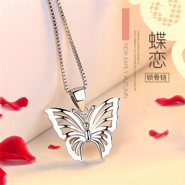 YL925银项链女个性时尚韩版人工玛瑙吊坠复古简约优雅配饰送女友