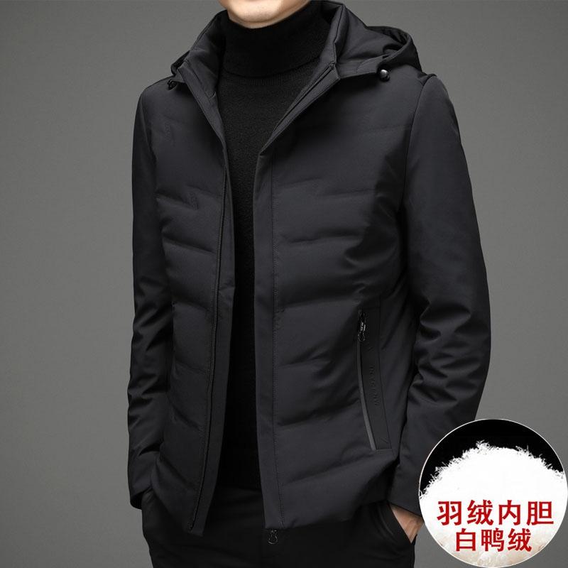 秋冬季男羽绒服短款加厚中老年羊毛翻领防寒服保暖休闲外套中年男