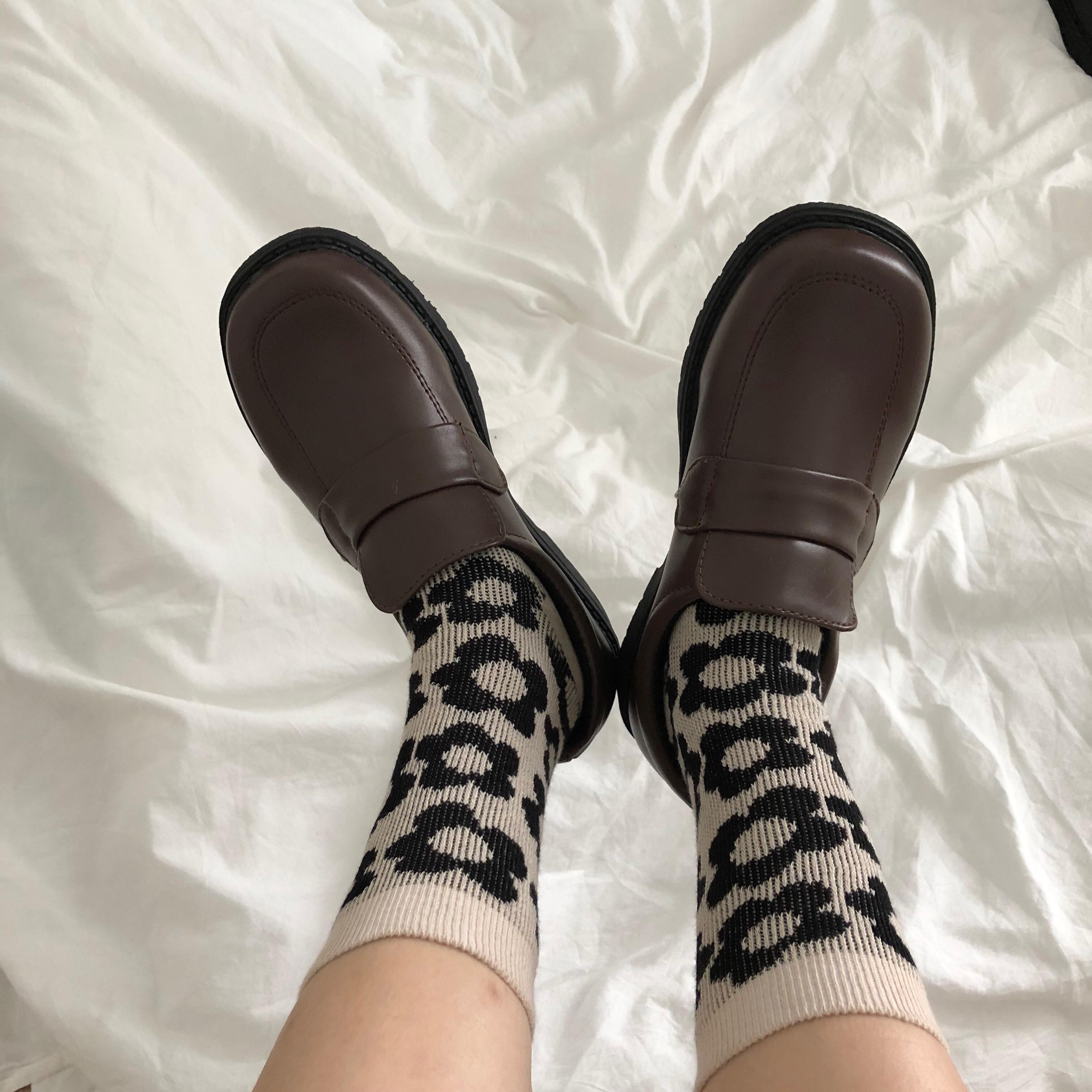 学院风女鞋学生复古棕色玛丽珍皮鞋低帮鞋秋冬 ulzzang 小黄桃韩国