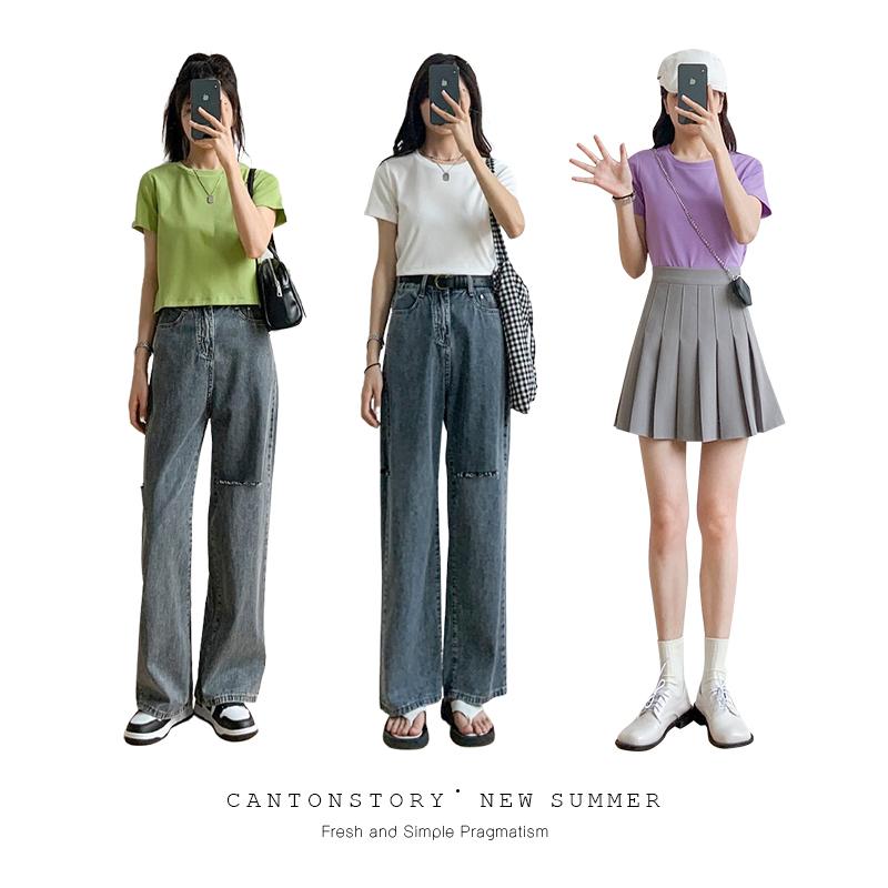 羊城故事白色短袖t恤女薄款夏季2021年新款修身纯色体恤短款上衣主图
