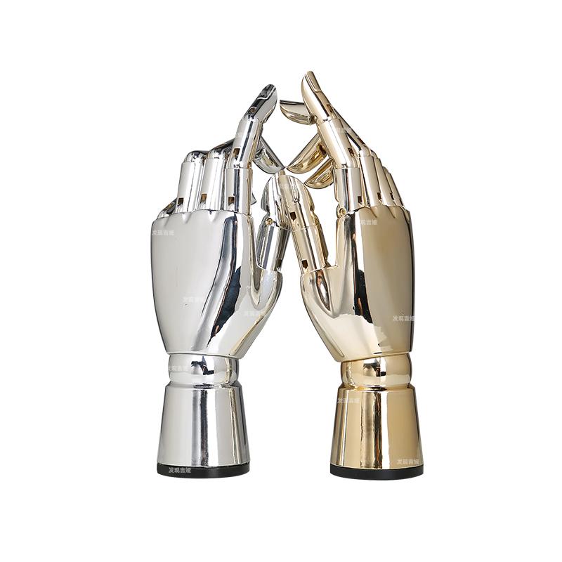 手模道具服装店橱窗陈列展示高档电镀金色银色假手模型关节手女