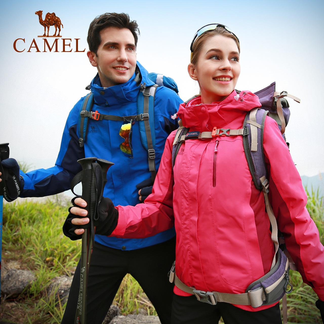 2  骆驼户外冲锋衣男女加绒加厚防风防水三合一登山服潮 万  热销