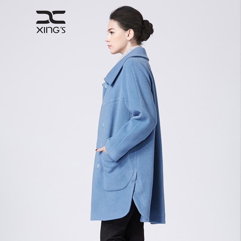 邢氏女装 2019春秋新款毛呢大衣女中长款大码宽松灰蓝色呢子外套