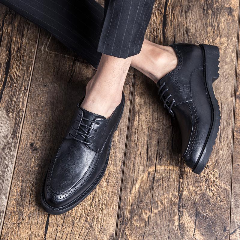 秋季布洛克男鞋韩版英伦潮鞋休闲商务正装皮鞋男士圆头棕色婚礼鞋