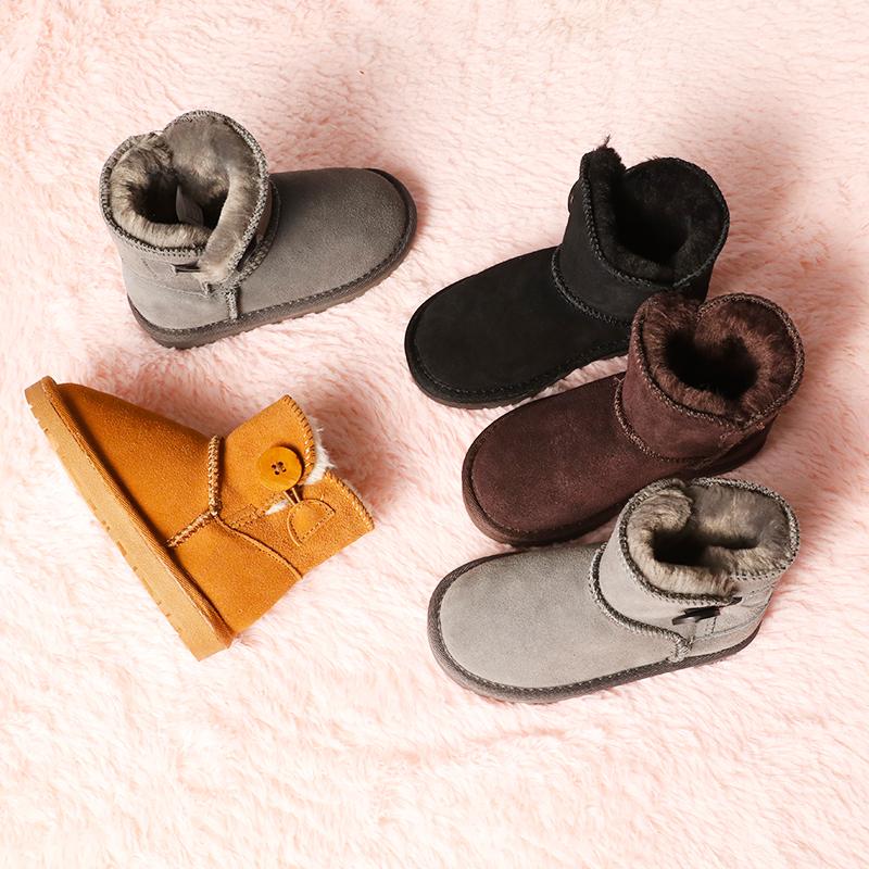 儿童棉鞋女童短靴2020冬季真皮保暖加绒宝宝棉靴男童雪地棉童鞋