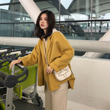 Big Flower Yuan 2019 new fall and winter clothes Girls long section of small yellow duck yellow cashmere wool coat sided large Amago