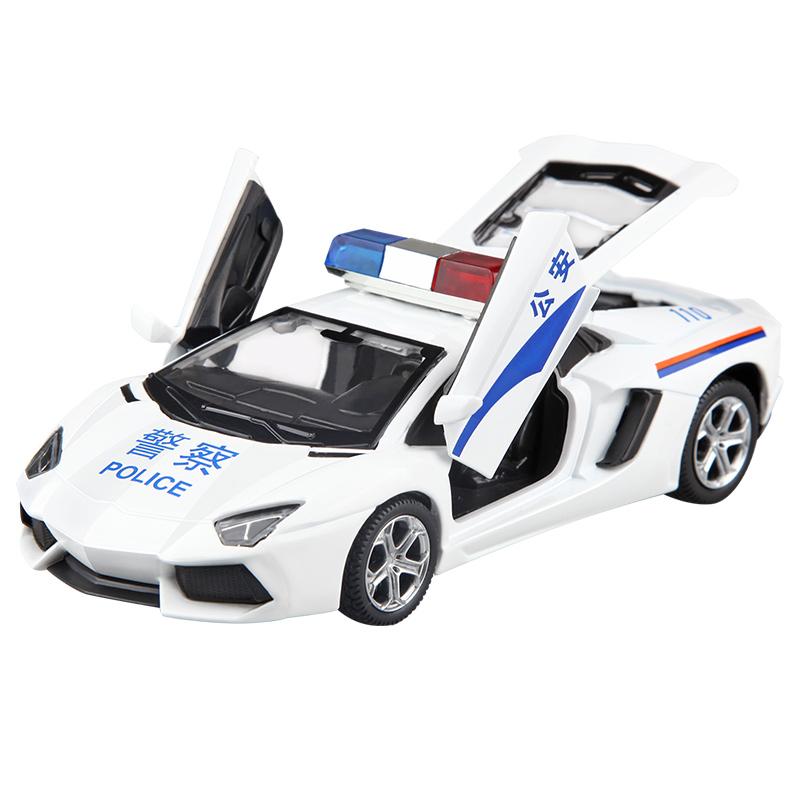 儿童警车玩具车仿真合金大模型特警车男孩小汽车模型警察回力声光