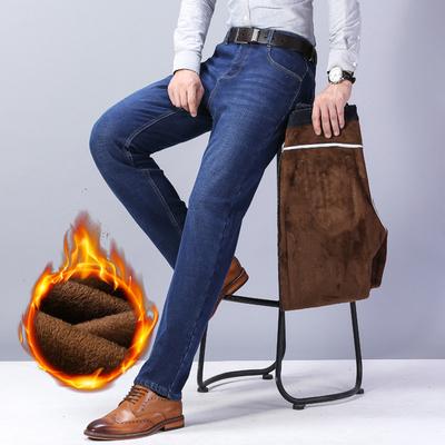 加绒加厚弹力牛仔裤男商务休闲宽松直筒保暖大码裤子男士修身长裤