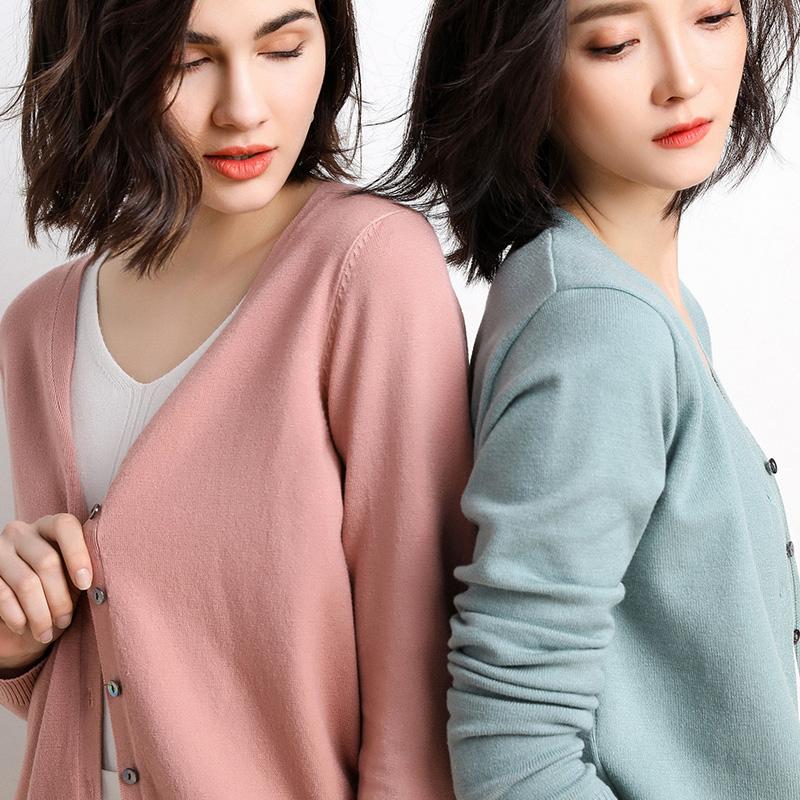 初春新款 领开衫外套韩版女士休闲纯色针织衫长袖上衣百搭短款潮  V
