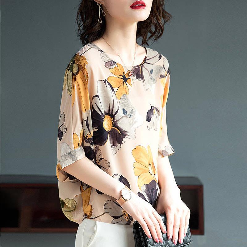 大码印花雪纺衫女遮肚子显瘦上衣女夏新款宽松蝙蝠袖 恤洋气小衫  T