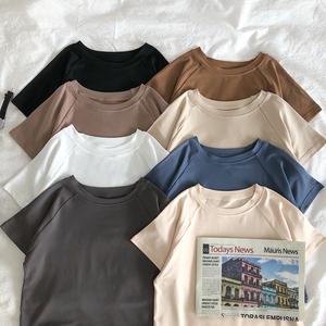 短款短袖t恤女韩版修身纯色