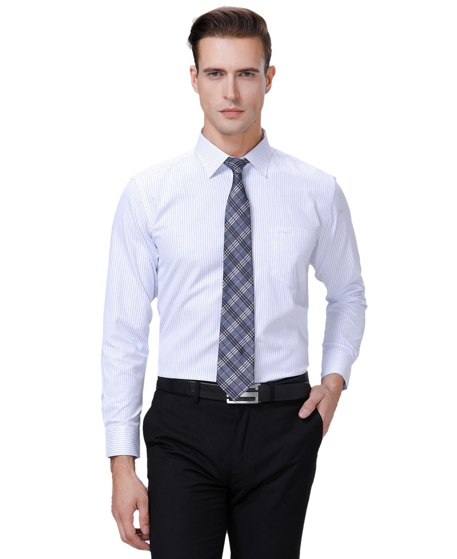 雅戈尔长袖衬衫新款男免烫纯棉商务正装格子条纹中年大码衬衣男士