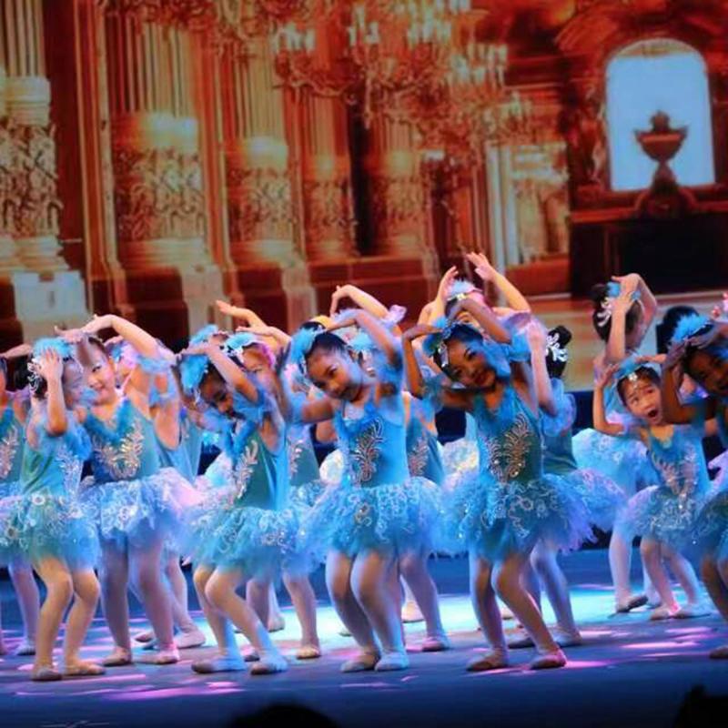 女童新款追夢舞蹈裙兒童芭蕾舞裙演出服白色紗裙公主裙吊帶蓬蓬裙