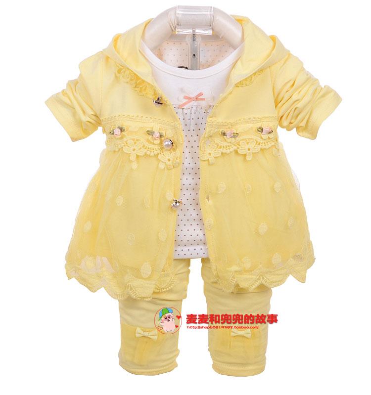 婴幼儿春装外套女童装春秋婴儿三件套装女宝宝公主外出衣服0-1岁2
