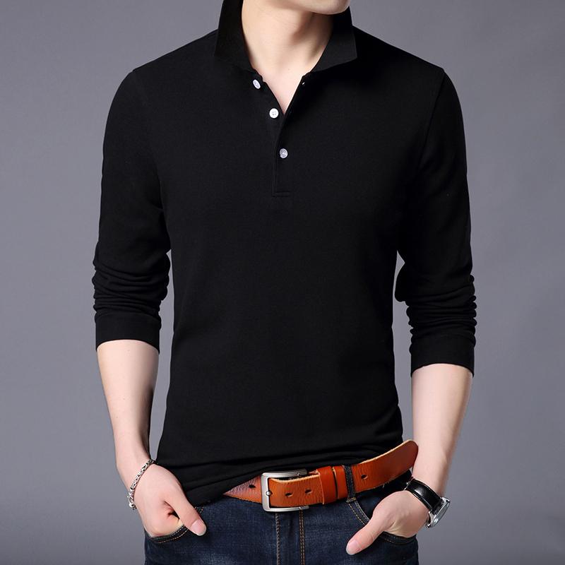 新款秋季长袖t恤男士翻领韩版休闲中青纯色体恤POLO衫上衣潮