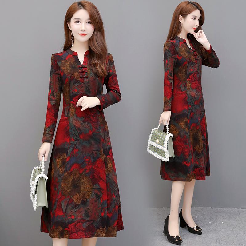 旗袍改良版2021年新款早秋小个子洋气时尚气质春秋妈妈长袖连衣裙
