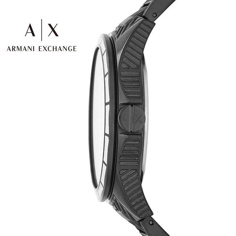 阿玛尼手表男Armani Exchange 黑色钢带时尚男士石英手表AX2625