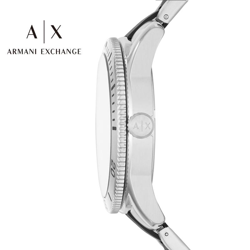阿玛尼手表男Armani Exchange简约黑色钢带男士腕表石英表AX1824