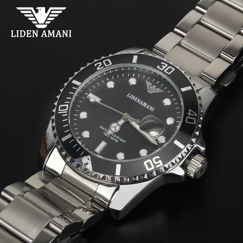 利登阿玛尼手表男士石英表正品实心钢带潮流非机械腕表 LIDENAMANI