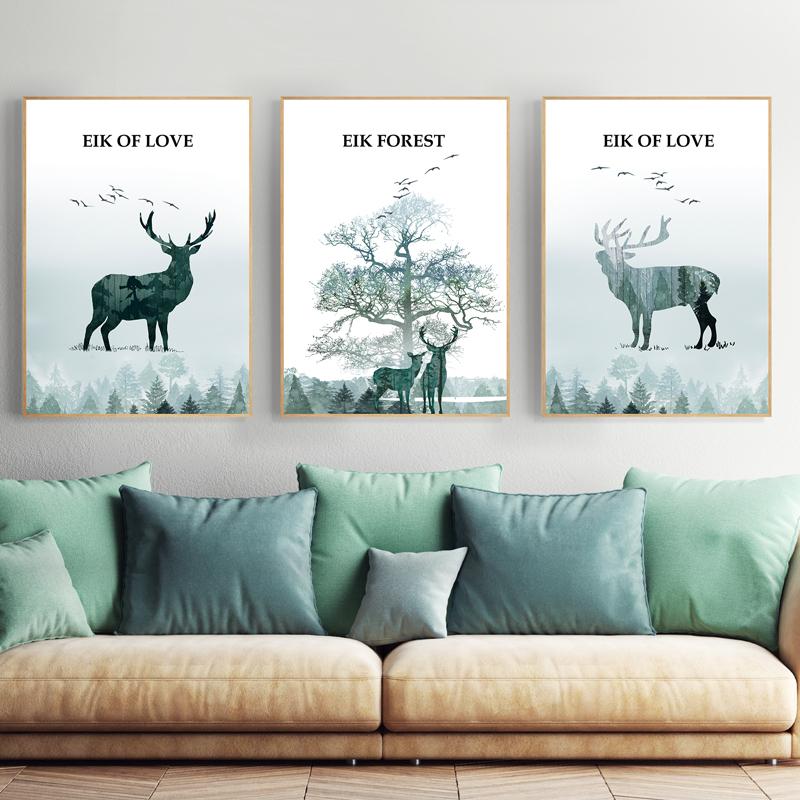 北欧客厅装饰画三联壁画现代简约沙发背景墙挂画创意麋鹿组合油画