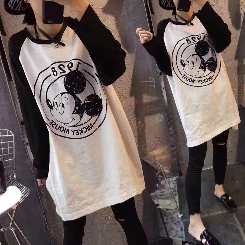 2020春装秋季新款女装韩版宽松长袖t恤女上衣打底衫中长款百搭潮
