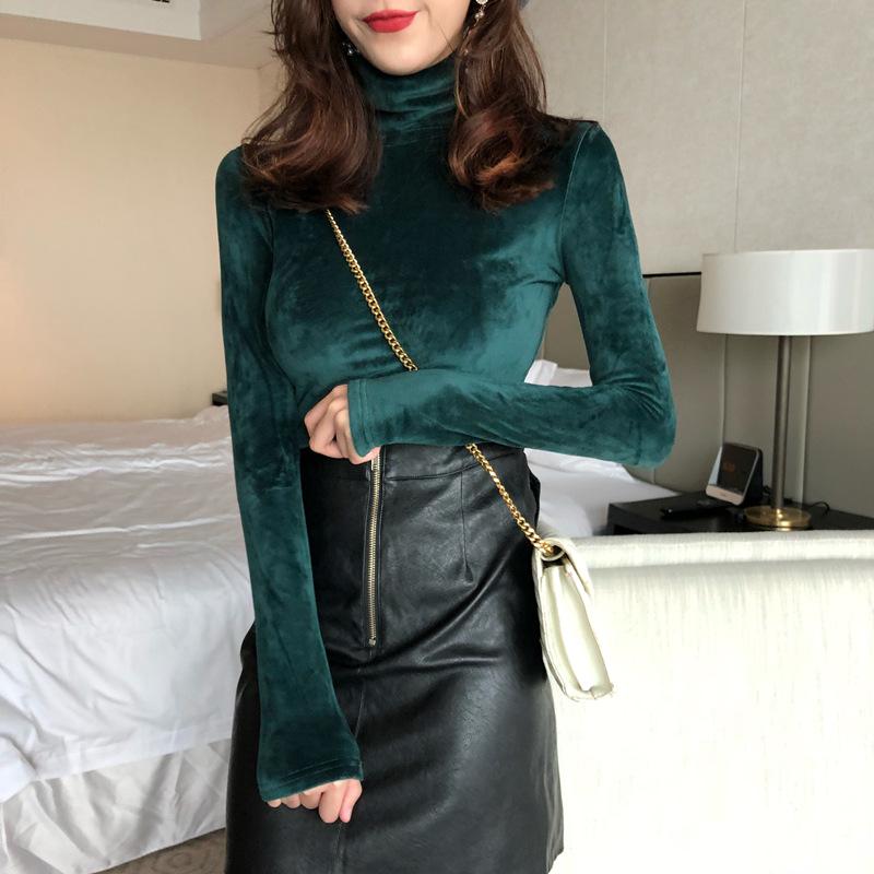 高领金丝绒春秋冬女装加绒加厚打底衫百搭内搭时尚长袖保暖上衣潮