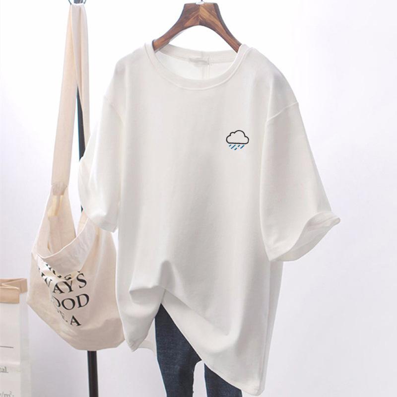 2021夏季新款薄款小众设计感大码情侣女装上衣服白色宽松短袖t恤
