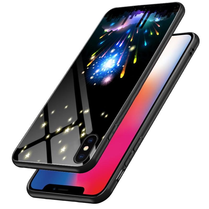 适用于苹果iphone xs手机玻璃夜光彩色水珠烟花飞机汽车love yo壳优惠券