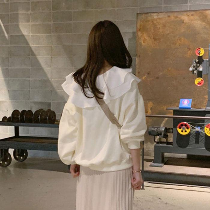 现韩国东大门代购女装2021春季新款白色上衣娃娃领潮ins宽松卫衣主图